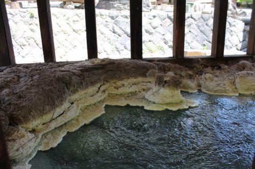Schwefel im Tamagoyu onsen, Takayu, Fukushima, Japan