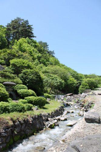 Ein Fluß am Tamago-yu Onsen, Takayu, Fukushima, Japan