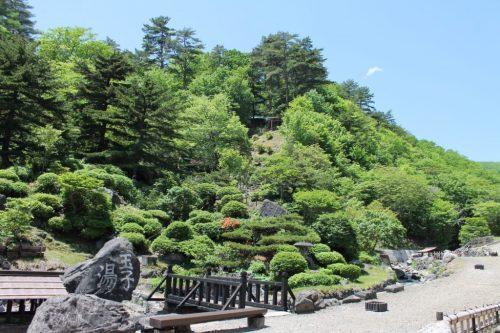 Aussicht im Tamago-yu. Entdecken Sie den Schrein?