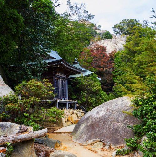 Kannon Do und Monjyu Do, Berg Misen Pavillons, Miyajima, Hiroshima, Japan.