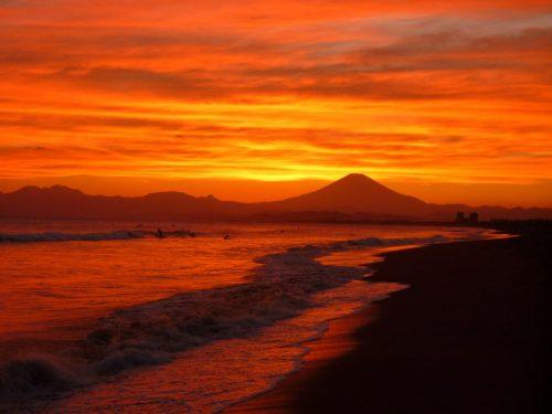 Fuji während des Sonnenuntergangs