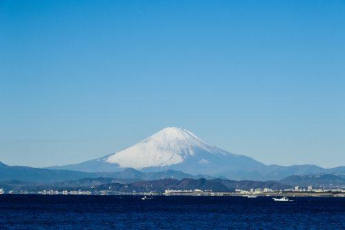 Blick auf den Fuji von der Brücke aus