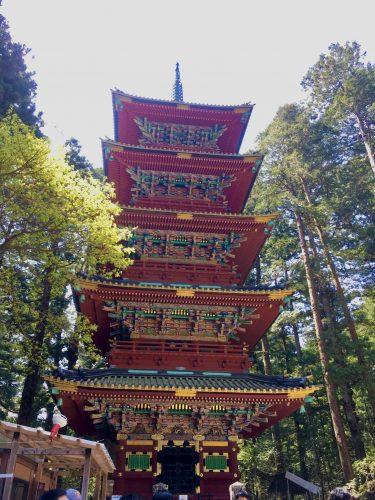 Die fünfstöckige Pagode in Nikkō Tōshō-gū in Nikkō, Präfektur Tochigi, Japan.