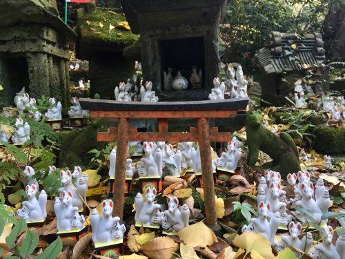 Foxes at the Sasuke Inari Shrine in Kamakura, Japan.