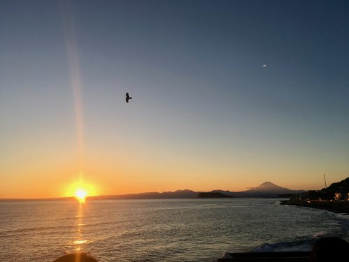 The beach of Kamakura with Mount Fuji in the background, Japan.