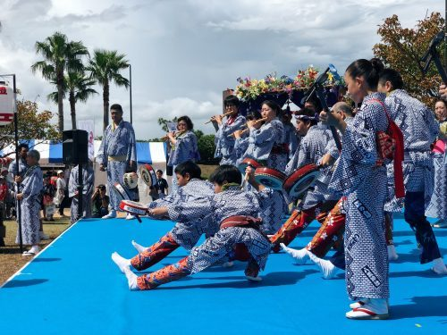Opening ceremony of the sailing world championship in Enoshima, Japan.