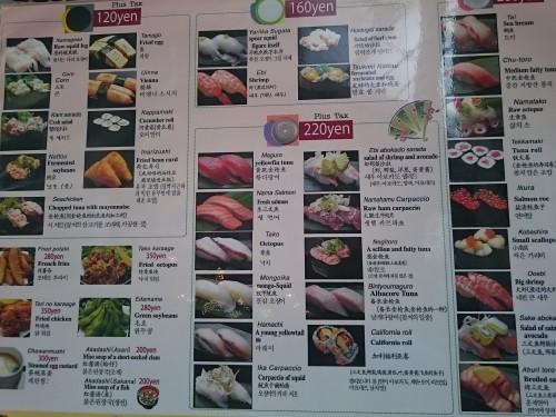 Cartel con variedades de sushi en un restaurante kaitenzushi.