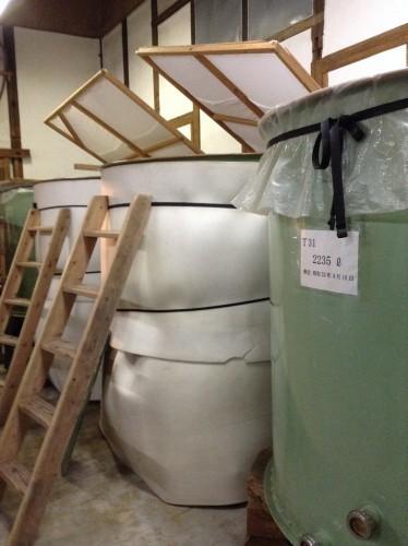 Tanques para la fermentación del sake