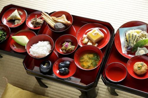Menú en Tsuruoka.
