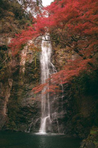 Cascada mezclada con los colores del otoño en el monte Mino de Osaka, Japon.