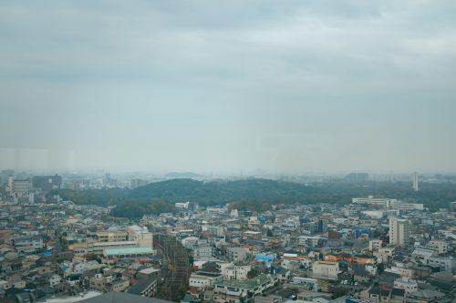 Vistas de los kofun des del ayuntamiento de Sakai, Osaka, Japón.