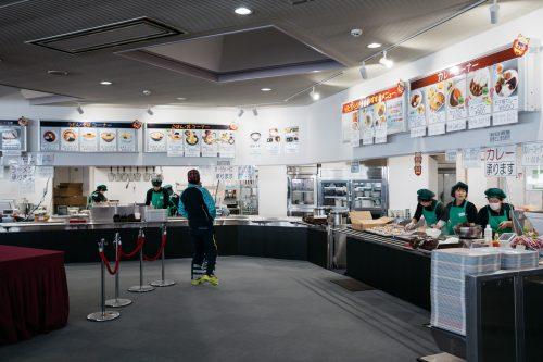 Docenas de elecciones de comida en el Tazawako Ski Resort, Akita, Tohoku, Japón.