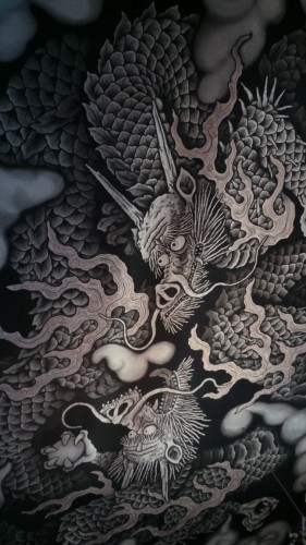 Vue des dragons peints sur le plafond du temple Kennin-ji à Kyoto