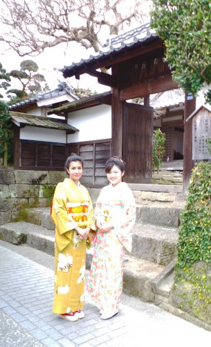 photo shooring in front of samurai town in Izumi
