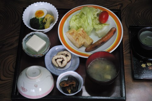 breakfast set at farmer's house in Izumi