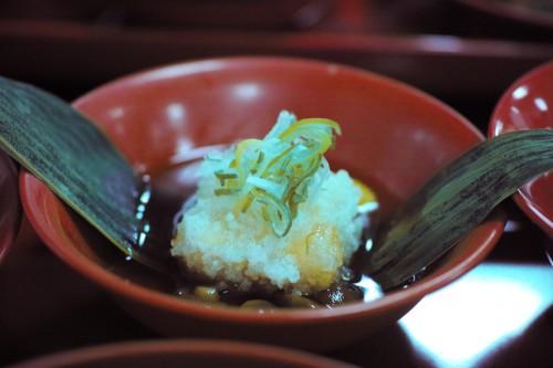 Tempura of fried tofu skin