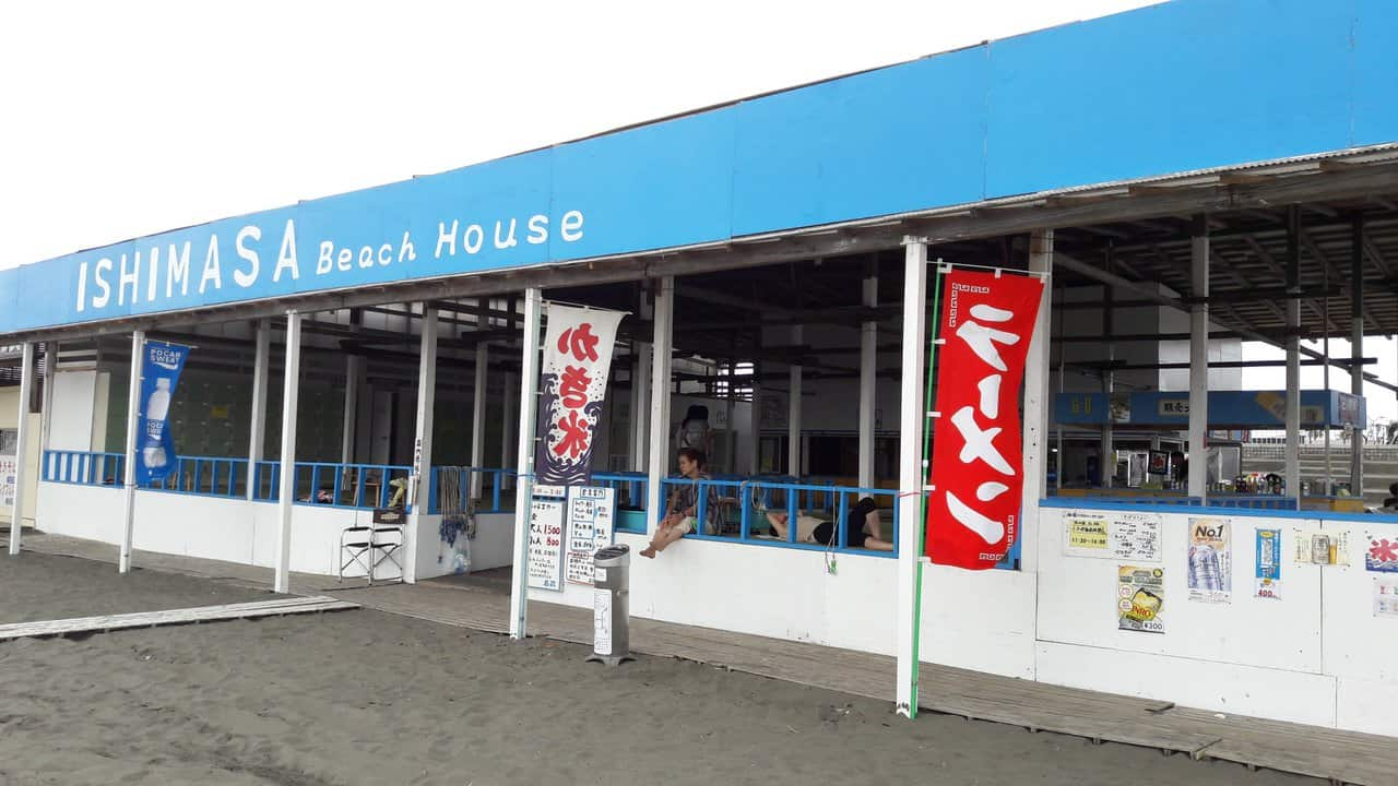 Beach houses at Katase beach, a famous and close beach from Tokyo, Japan.