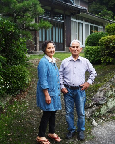 La ferme à Kofuji, sur l'ile de Kysuhu dans la préfecture d'Oita au Japon avec les propriétaires