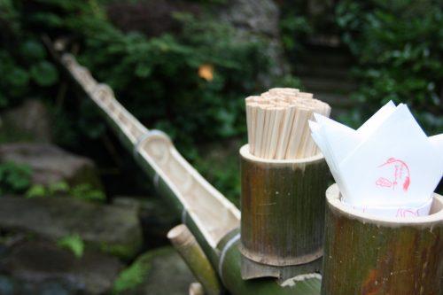 Déguster des taki soumen dans le jardin du ryotei Ikinariya dans le quartier de Furumachi à Niigata, Japon