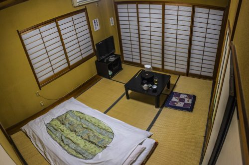 Single room at Iwasu-so hostel in Nakatsugawa, Gifu prefecture, Japan