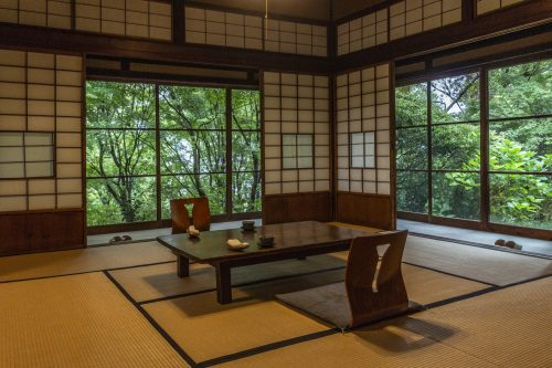 Dining room of Agemiya Restaurant in Nakatsugawa, Gifu Prefecture, Japan