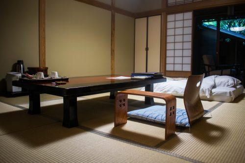 Coffee table and futon in one of Tanokura ryokan rooms in Yufuin, Oita prefecture, Japan