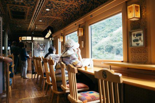 Inside Kawasemi Yamasemi Train, Kumamoto Prefecture, Kyushu, Japan