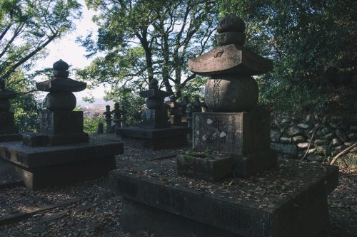Ganjoji Temple Cemetery in Hitoyoshi, Kumamoto Prefecture, Kyushu, Japan