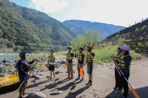 Safety Directions Before Rafting on the Kuma River, Kumamoto Prefecture, Kyushu, Japan