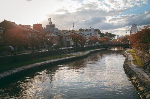 Beautiful views along the river while cycling around Toyama Bay.