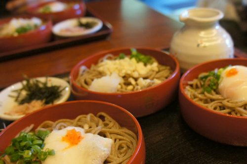 Sanshoku warigosoba dish to be enjoyed near Izumo Great Shrine, San'in Region, Shimane Prefecture, Japan