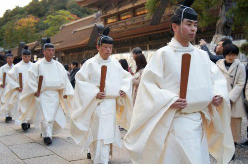 Rituel Karasade-sai à Izumo-taisha, le grand sanctuaire d'Izumo, région du San'in, préfecture de Shimane, Japon