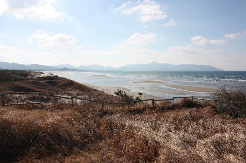 Point de vue sur les dunes de sable de Fukiagehama à Minamisatsuma, Kagoshima, Kyushu, Japon