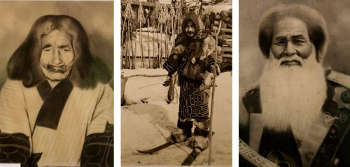 Trois photographies d'hommes aïnous exposées au Kawamura Kaneto Ainu Memorial Museum d'Asahikawa, Hokkaido, Japon