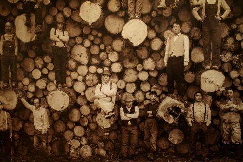 Photographie ancienne de bûcherons exposée à l' Asahikawa Design Center, Hokkaido
