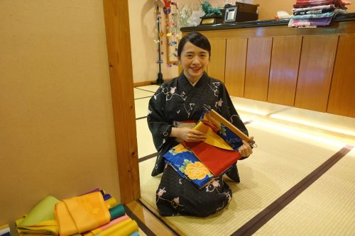 Kimono selection and dressing at Ryokan Shinsen in Takachiho.