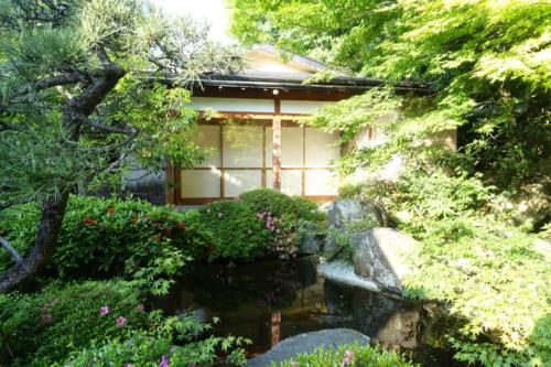 Japanese garden at Ryokan Shinsen in Takachiho.