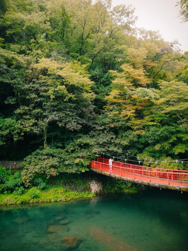 Pont rouge qui surplombe les eaux des gorges de kikuchi, à Kumamoto