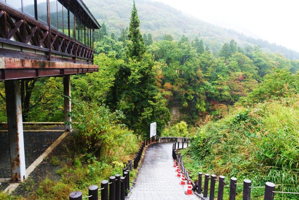Le sentier de randonnée qui s'enfonce dans les gorges d' oyasukyo dans la préfecture d'Akita