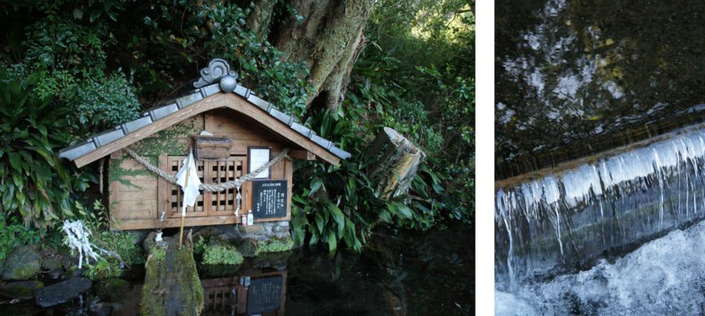 Petit sanctuaire construit à l'emplacement de la source de la rivière Sozugawa à Kikuchi