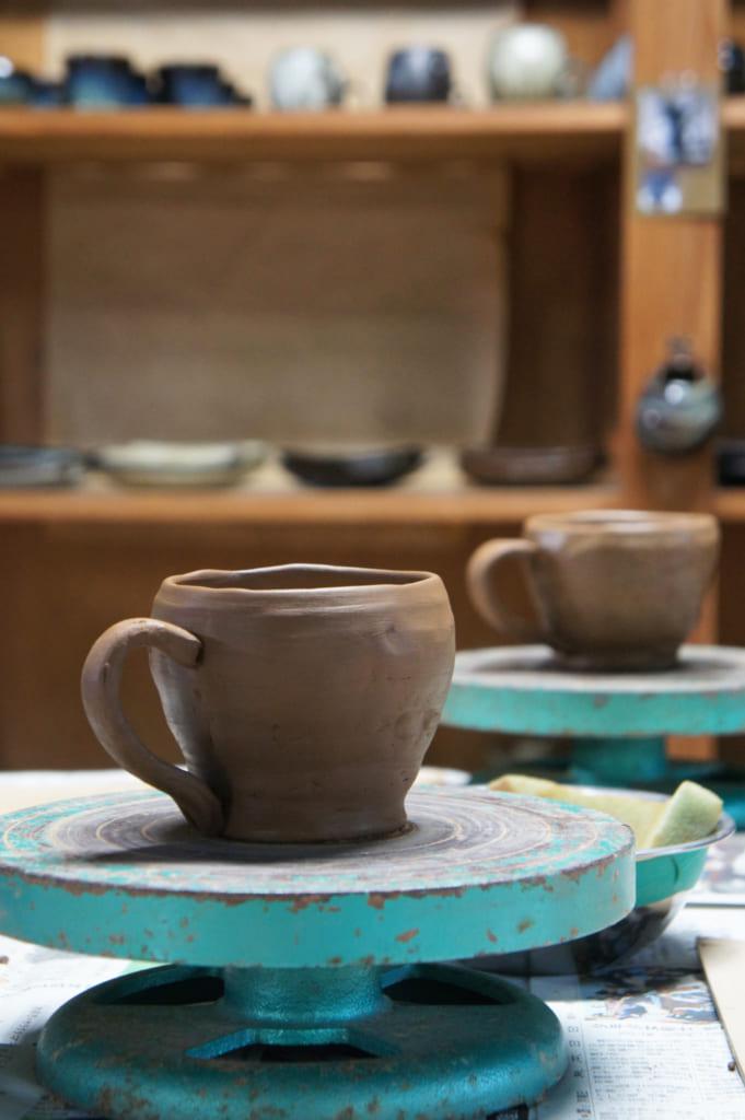Tasse réalisée lors d'un atelier de céramique SHodai yaki à Issakigama