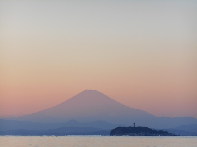 Mount Fuji , a stunning view with Enoshima island.