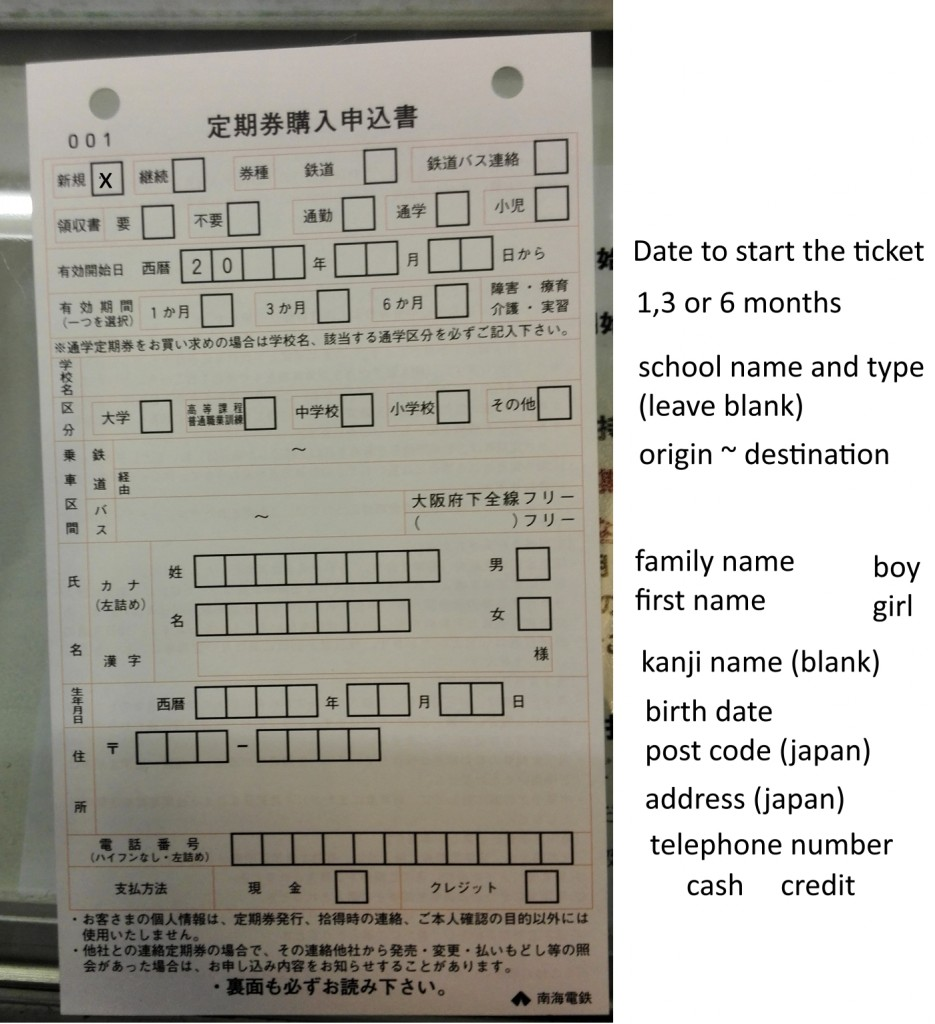 teiki, or ocmmuter card form sheet for Japanese trains and stations