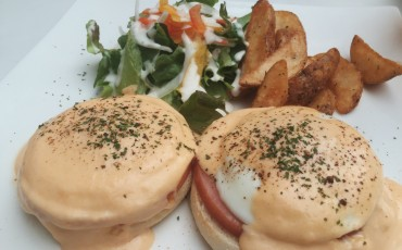 food,eggs benedict,meal,dish,fries