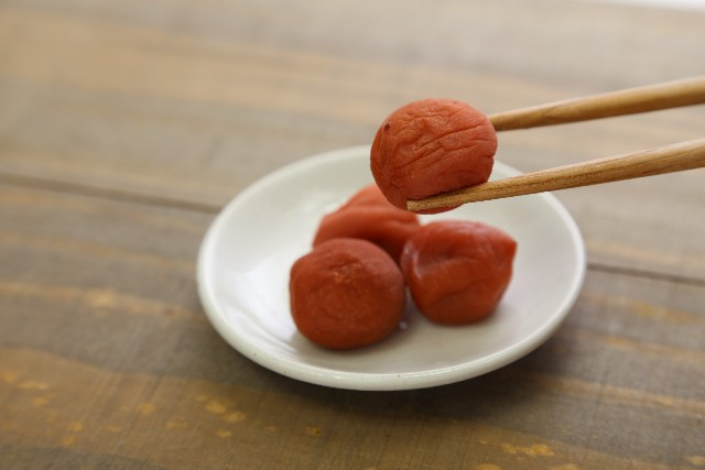 Umeboshi is dried fragrant plum.