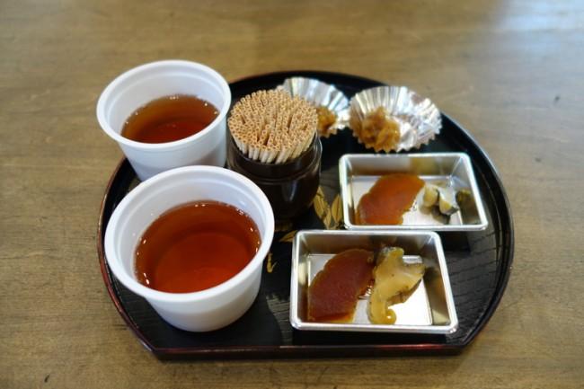 Kobe sake pickles museum, sample dish
