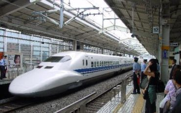 JR Shinkansen on the JR Tokaido Line, Japan.