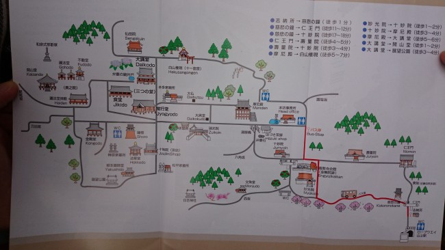 Map marked by more than one temple, Himeji shoshasan hiking trail