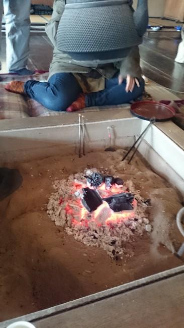 fireplace and tea at Hokkaido Village Museum