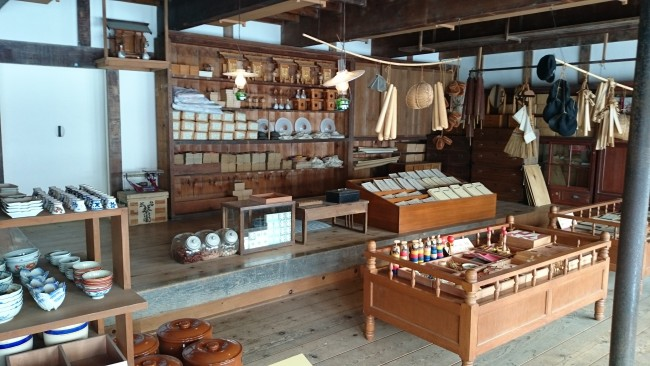old Hokkaido village shops stocked with various goods